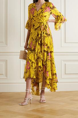 Diane von Furstenberg - Jean Ruffled Floral-print Crepon Wrap Dress - Yellow