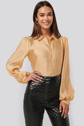 NA-KD Structured Organza Balloon Sleeve Blouse