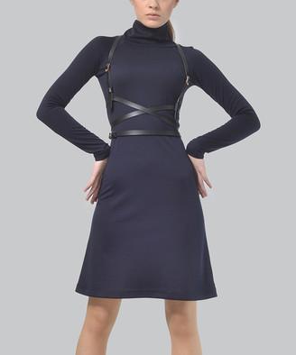LADA LUCCI Women's Casual Dresses Navy - Navy Cowl Neck A-Line Dress & Two-Buckle Belt - Women & Plus