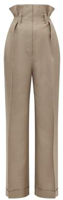 Acne Studios Perrie Paperbag Waist Wool Blend Twill Trousers - Womens - Beige