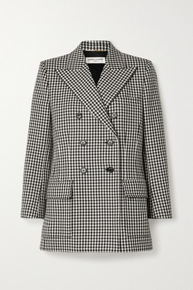 Saint Laurent Double-breasted Checked Wool Blazer - Black
