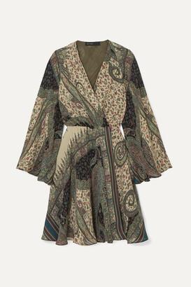 Etro Printed Silk Crepe De Chine Wrap Dress - Beige