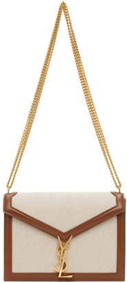 Saint Laurent Off-White and Brown Medium Cassandra Bag