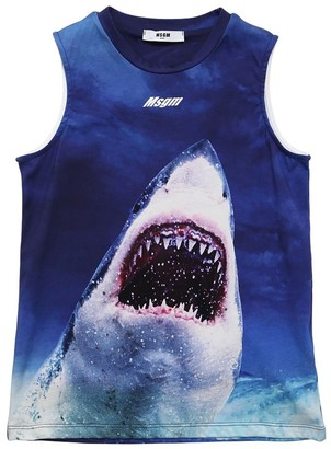 MSGM Shark Printed Cotton Jersey Tank Top