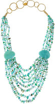 Devon Leigh Long Layered Multi-Strand Beaded Necklace, Green/Blue/Multi