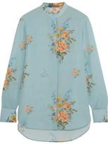 Alexander McQueen Floral-print Silk Crepe De Chine Shirt - Sky blue