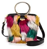 Milly Drawstring Faux-Fur Bucket Bag