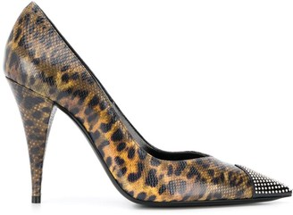 Saint Laurent leopard-print studded pumps