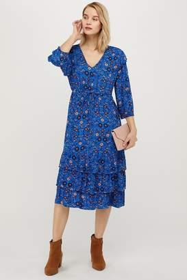 Monsoon Womens Tilly Ecovero Floral Print Dress - Blue