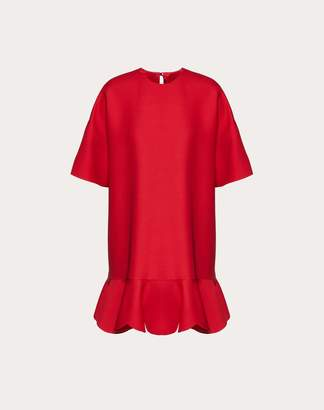 Valentino Crepe Couture Dress With Scallop Detail Women Red 38