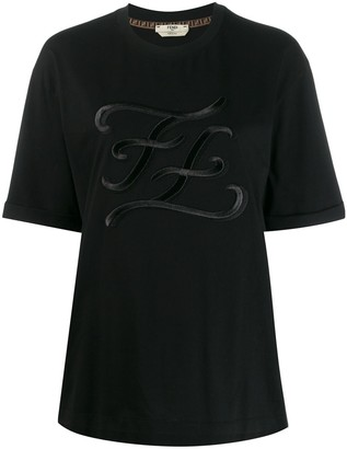 Fendi Karligraphy motif embroidered T-shirt
