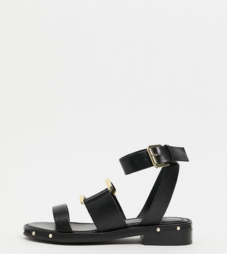 ASOS DESIGN Wide Fit Farley premium leather chunky studded flat sandals in black