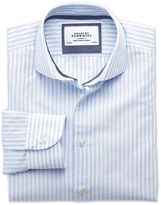 Charles Tyrwhitt Extra Slim Fit Spread Collar Business Casual Sky Blue and White Striped Cotton Dress Casual Shirt Single Cuff Size 16.5/34