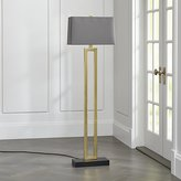 Crate & Barrel Duncan Brass Floor Lamp with Grey Shade
