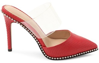 BCBGeneration Harlina Studded Vinyl-Strap Leather Mules