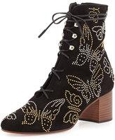 Valentino Garavani Butterfly-Studded Lace-Up Boot, Black