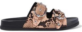 Rebecca Minkoff Vachel Buckled Studded Snake-effect Leather Slides