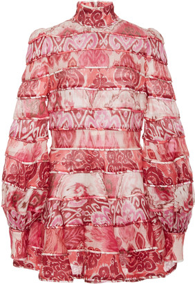 Zimmermann Wavelength Paneled Silk-Linen Mini Dress