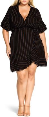 City Chic Golden Stripe Wrap Front Dress