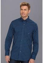 Nautica Wrinkle Resistant Mini Tartan L/S Shirt (Double Navy) - Apparel
