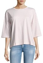 MiH Jeans Striped Oversized Tee, White/Air Pink