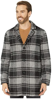John Varvatos Carsen Car Coat in Plaid Wool Blend O1848V3B (Black Multi) Men's Clothing