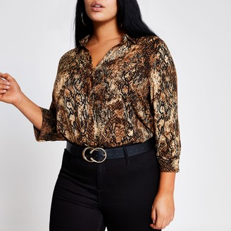 River Island Womens Plus Brown printed shirt