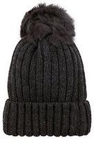 Jocelyn Grey Shearling Lamb Pom Hat