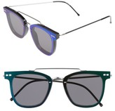 Spitfire Women's Ftl 54Mm Flat Frame Sunglasses - Black/ Silver/ Green Mirror