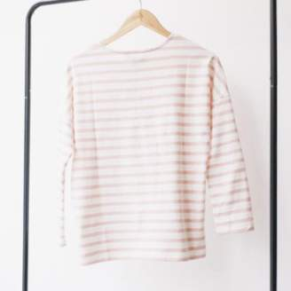 People Tree Pink Organic Cotton Long Sleeved Stripe Top - 12 - Pink/White