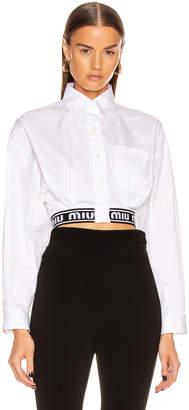 Miu Miu Crop Logo Button Up Top in White | FWRD