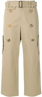 Junya Watanabe Comme Des Garçons Pre Owned Double Buttons Cropped Trousers