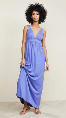 Susana Monaco Gathered Plunge Front Maxi Dress