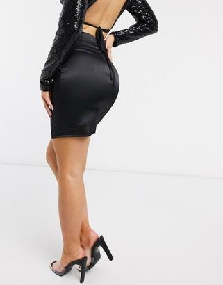 Parisian satin mini skirt in black