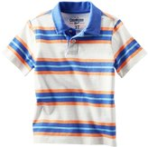Osh Kosh Striped Polo (Toddler/Kids) - Ivory/Octopus Blue-4
