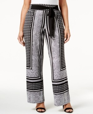 INC International Concepts Inc Plus Size Tie-Waist Palazzo Pants, Created for Macy's