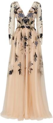 Jovani Floral Embellished Long-Sleeved Gown