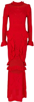 Alexis CeeCee Red Pointelle-knit Maxi Dress