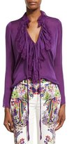 Roberto Cavalli Ruffled Self-Tie Silk Blouse, Violet