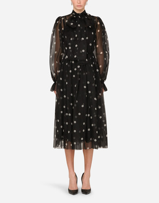 Dolce & Gabbana Polka-Dot-Print Organza Calf-Length Dress