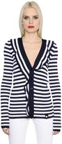 Sonia Rykiel Ruffled Striped Knit Cardigan