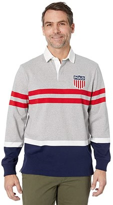 Polo Ralph Lauren Striped Color Block Polo Knit (Andover Heather Multi 1) Men's Clothing