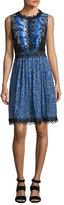 Elie Tahari Audriana Sleeveless Lace-Trim Printed Dress, Dark Blue