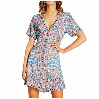Women V Neck Boho Floral Mini Dress Summer Short Sleeve Wrap Sash Beach Dress Youmore Summer Dresses for Women Beach Dress Party Dresses Mini Dress Sundress Floral Sun Dresses Ladies