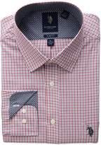 U.S. Polo Assn. Men's Slim Fit Plaid Semi Spread Collar Dress Shirt