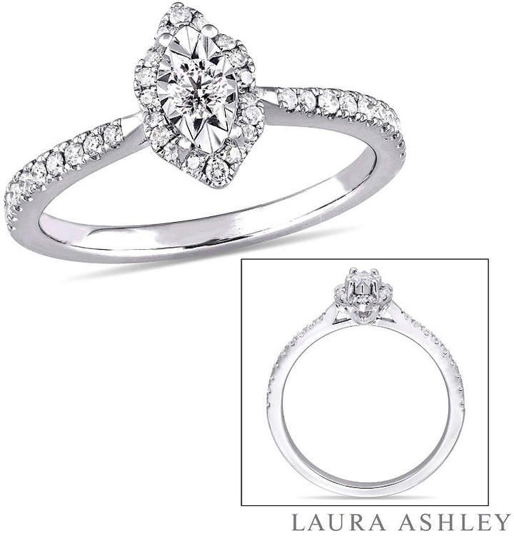 Laura Ashley MODERN BRIDE Womens 1/3 CT. T.W. Genuine White Diamond Sterling Silver Engagement Ring
