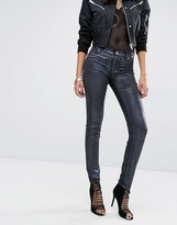 Versace Mid Rise Metallic Coated Skinny Jeans