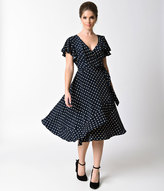 Unique Vintage 1940s Navy Blue & Ivory Polka Dot Short Sleeve Dotty Wrap Dress