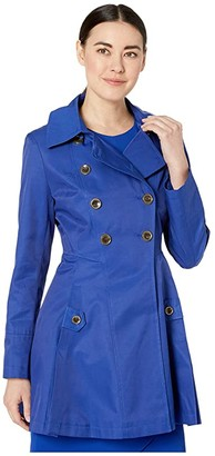 Via Spiga Petite Double Breasted Fit and Flare w/ Detachable Hood (Postiano Blue) Women's Clothing