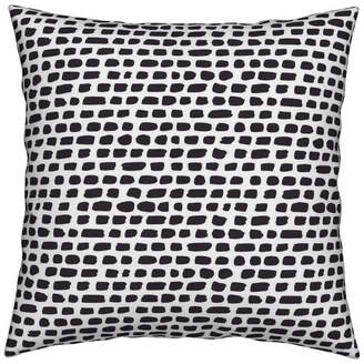 Roostery Stripes Strokes Black And White Grunge Throw Pillow Velvet